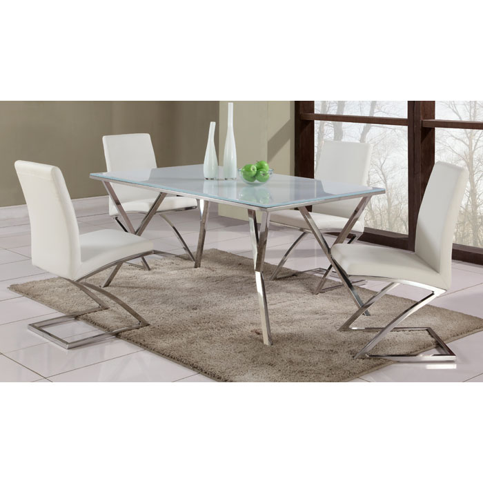 Jade Contemporary Dining Set with Glass Top Table - CI-JADE-5-PC-SET