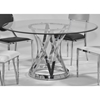 Janet Round Dining Table - Clear Glass Top, Stainless Steel Base - CI-JANET-DT-GL54-CLR