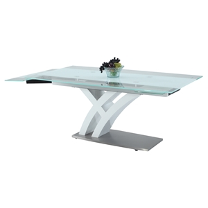 Jillian Dining Table - Glass Top, Brushed Stainless Steel and White