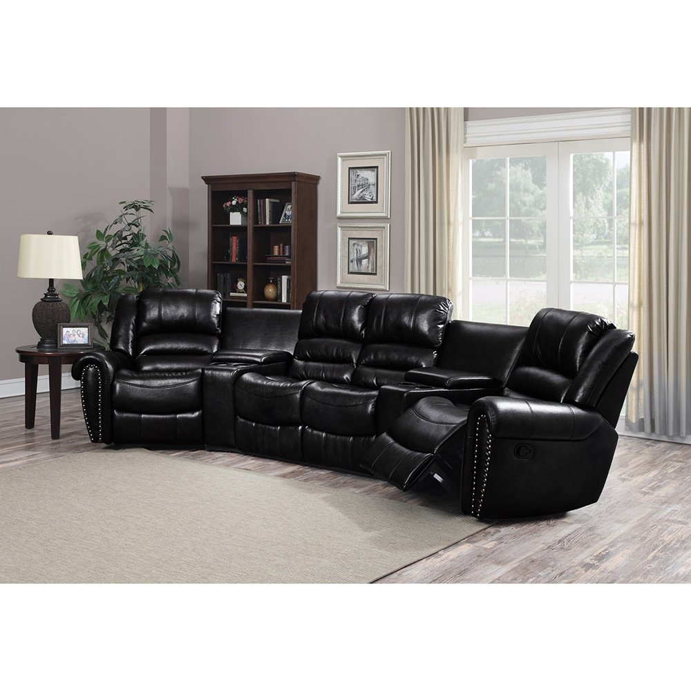 Laredo 5 Pieces Home Theater Seating Bonded Leather Black Dcg Stores