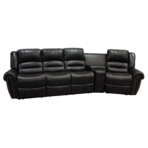 Laredo 4 Pieces Home Theater Seating - Bonded Leather, Black
