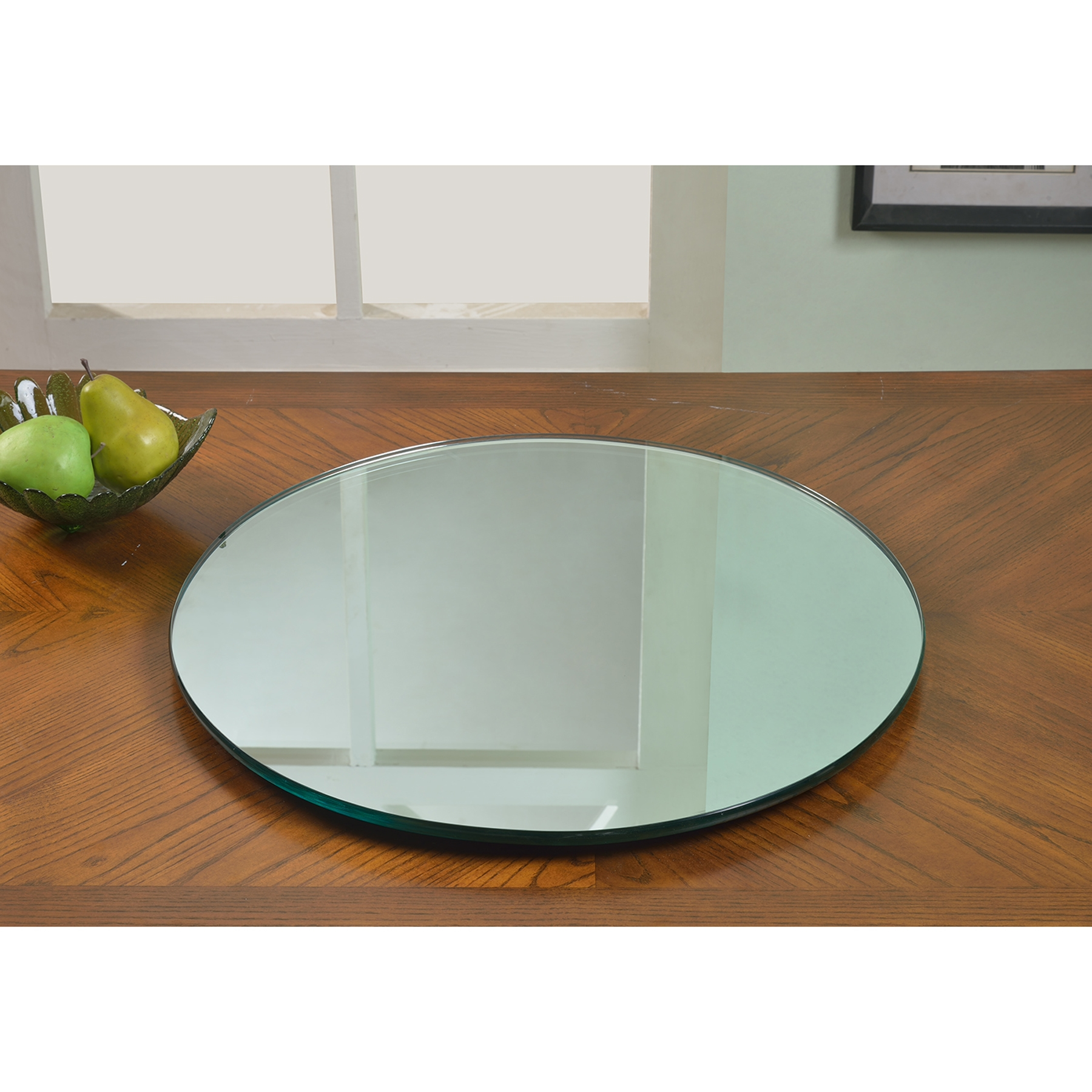 lazy susan round rotating tray mirror