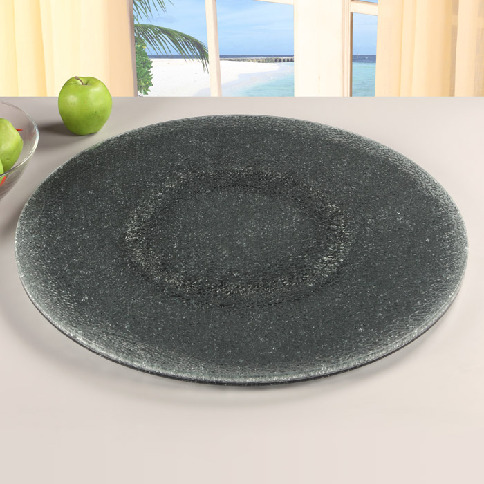 Rotating Tray Lazy Susan 24 Round Crackled Glass