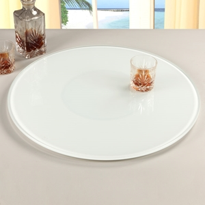 Rotating Tray/Lazy Susan - Round, White Glass