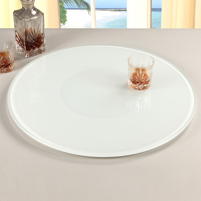 Rotating Tray Lazy Susan Round White Glass Dcg Stores
