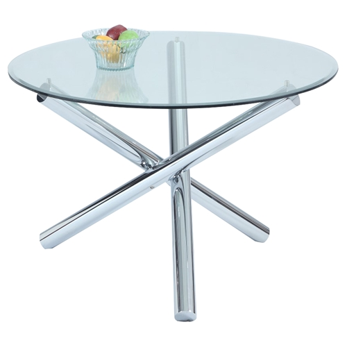 leatrice round dining table glass top chrome base dcg stores. Black Bedroom Furniture Sets. Home Design Ideas