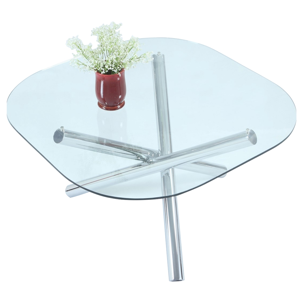 Leatrice Square Dining Table Glass Top Chrome Base