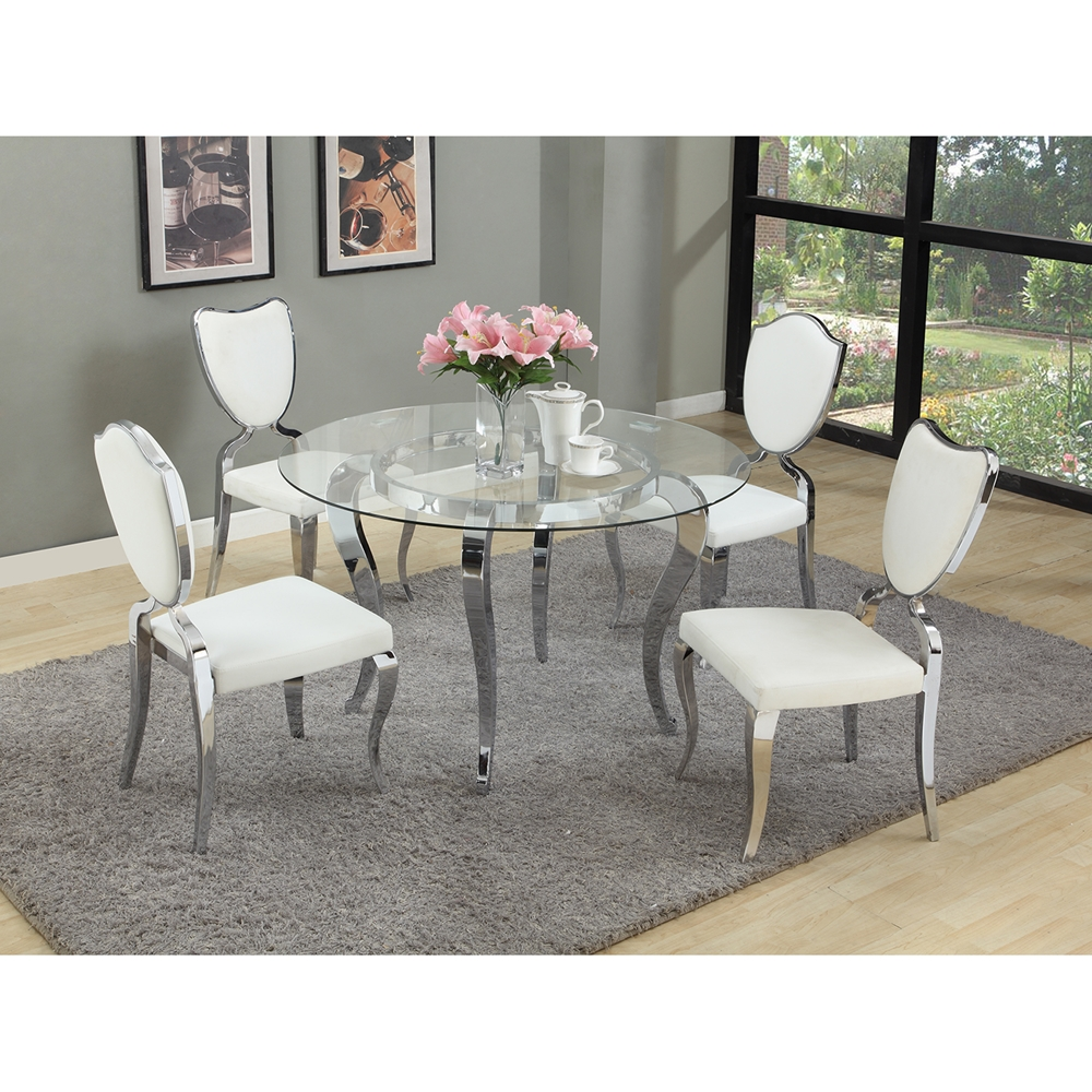 Letty 5 Pieces Round Dining Set Mirror Glass Top