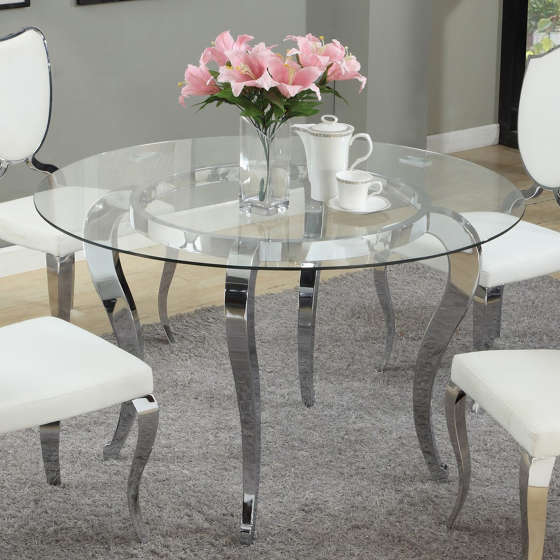 Letty Round Dining Table Mirror Glass Top Cabriole Legs