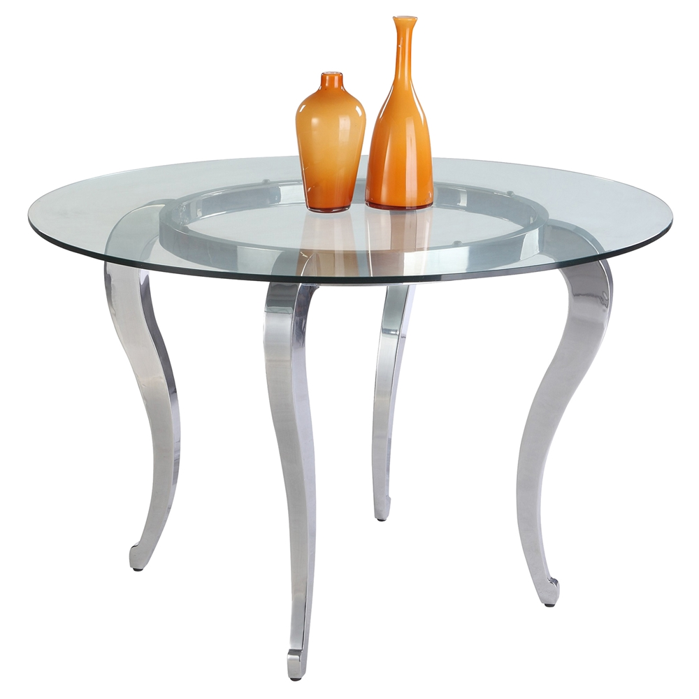 Letty Round Dining Table Clear Glass Top Cabriole Legs