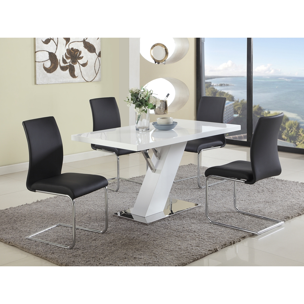 Linden Rectangular Dining Table Gloss White Dcg Stores