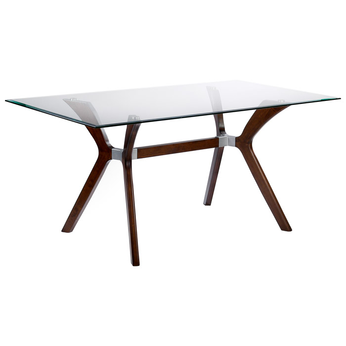Luisa Wood Dining Table - Clear Glass Top, Rectangular - CI-LUISA-DT-RCT