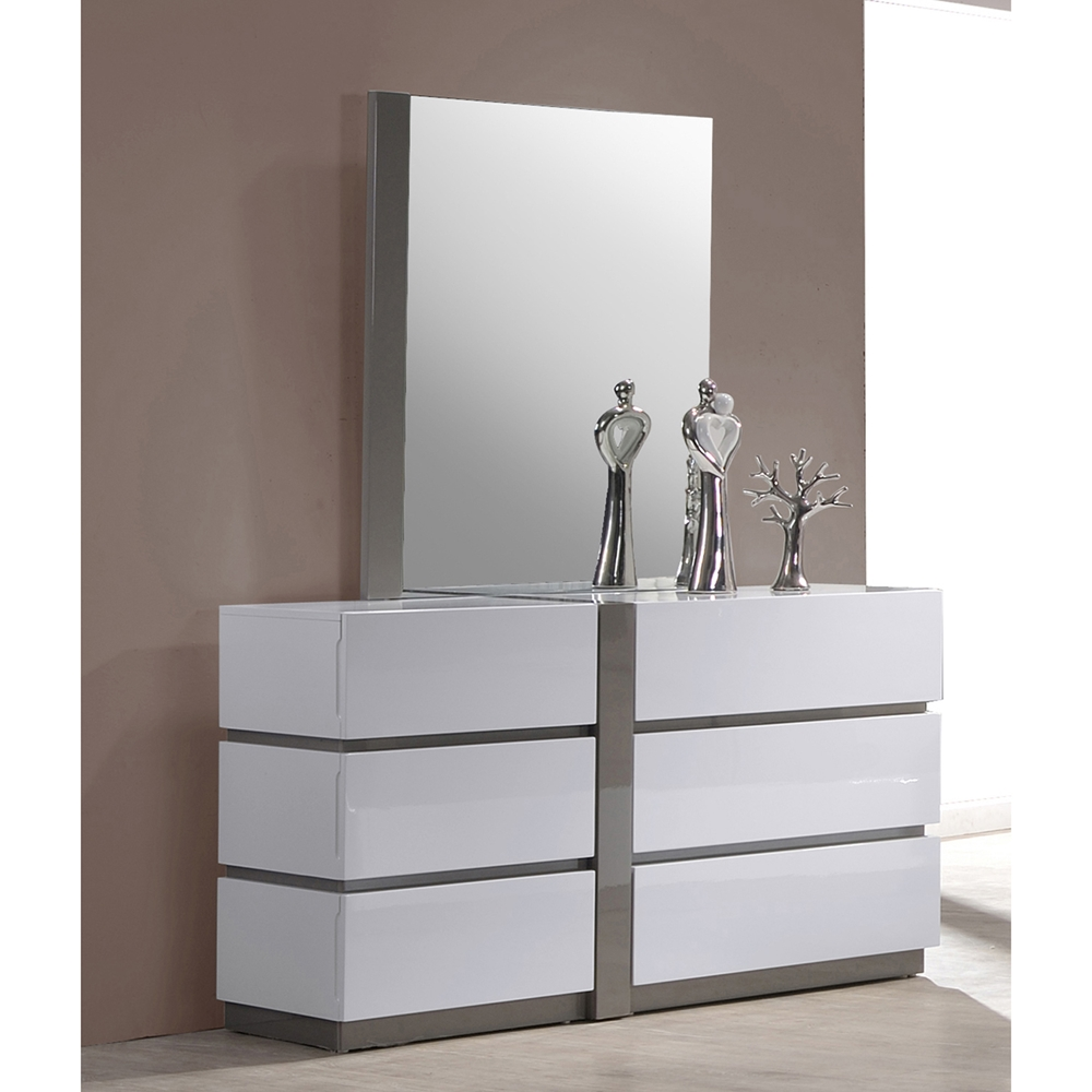 Manila 4 pieces bedroom set high gloss white and gray for White high gloss bedroom furniture