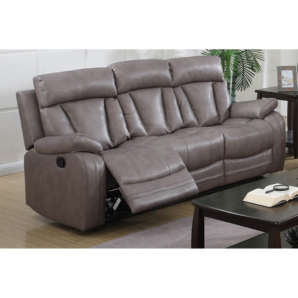 Modesto 3 Pieces Reclining Leather Air Sofa Set Gray