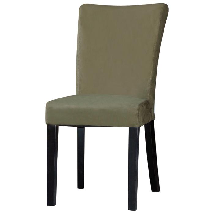 Monica Parsons Chair Satin Black Legs Green Microfiber