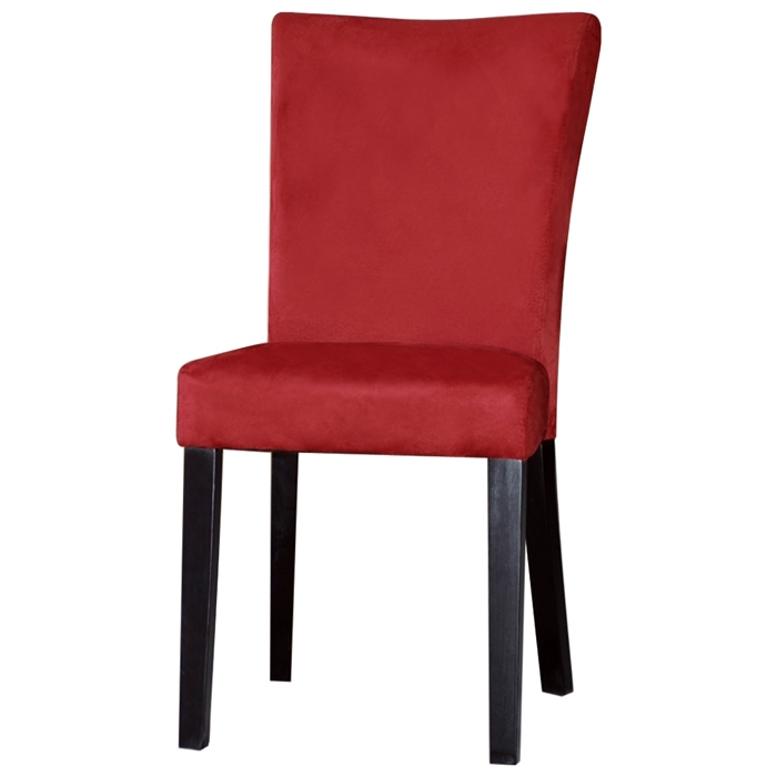 Monica Parsons Chair Satin Black Legs Red Microfiber