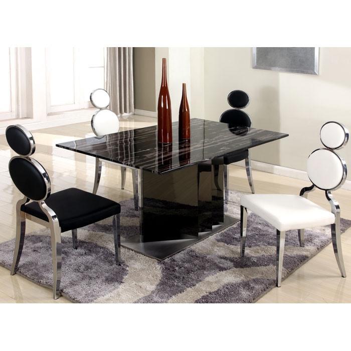 Oprah Dining Table - Marble Top, Two Tone Base - CI-OPRAH-DT