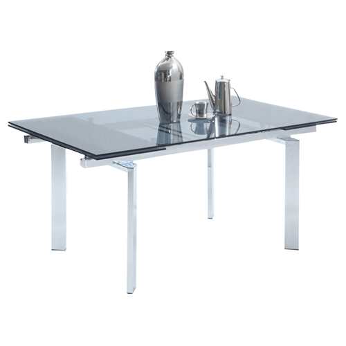 Paisley Extension Dining Table Glass Top Chrome Base