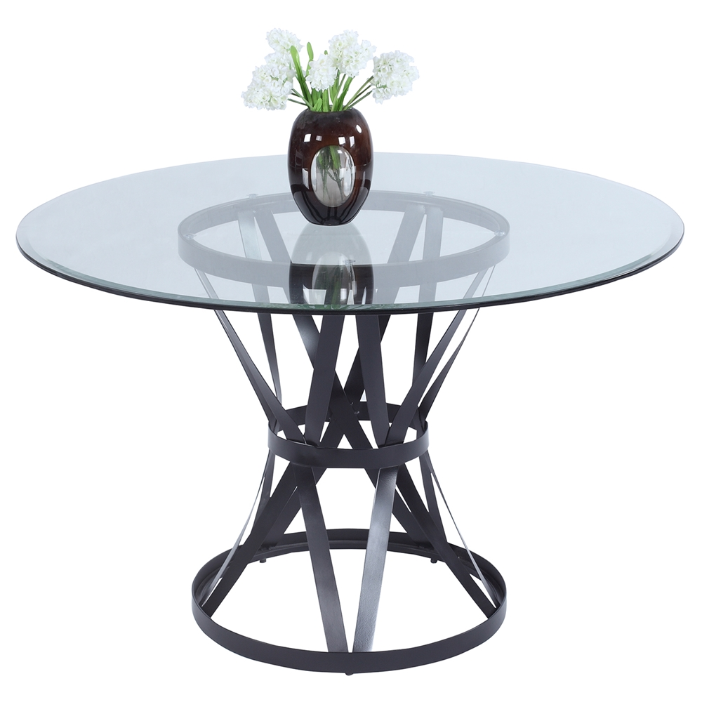 Pandora Round Dining Table Glass Top Matt Black Base