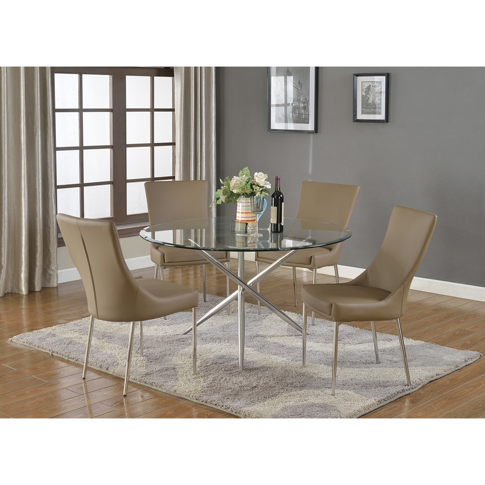 Patricia Round Dining Table Glass Top Polished