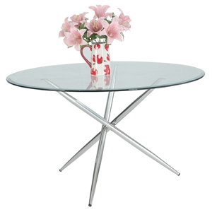 Patricia Round Dining Table - Glass Top, Polished Stainless Steel Base