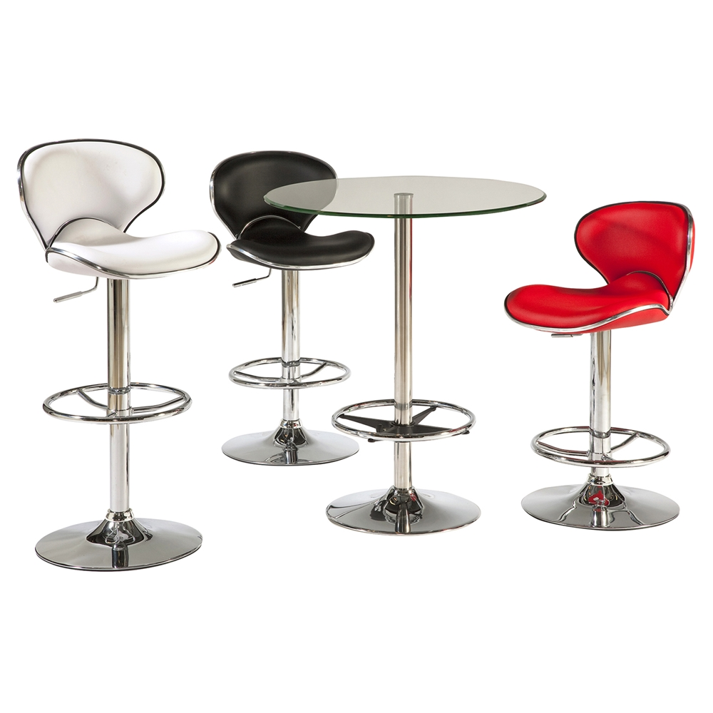 Round Pub Table Glass Top Chrome Base Dcg Stores