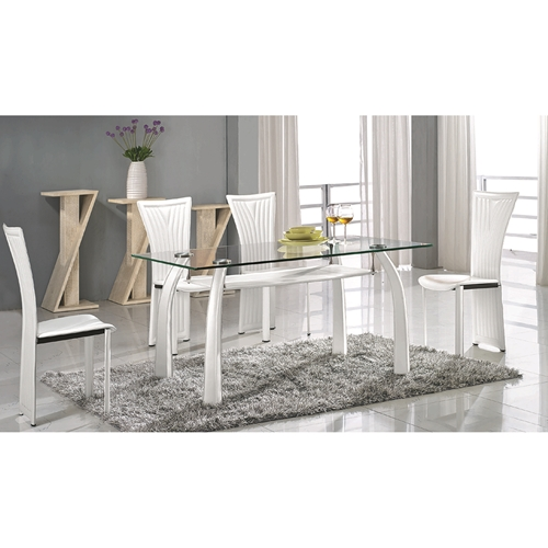 Ramona Dining Table Clear Glass White Base DCG Stores