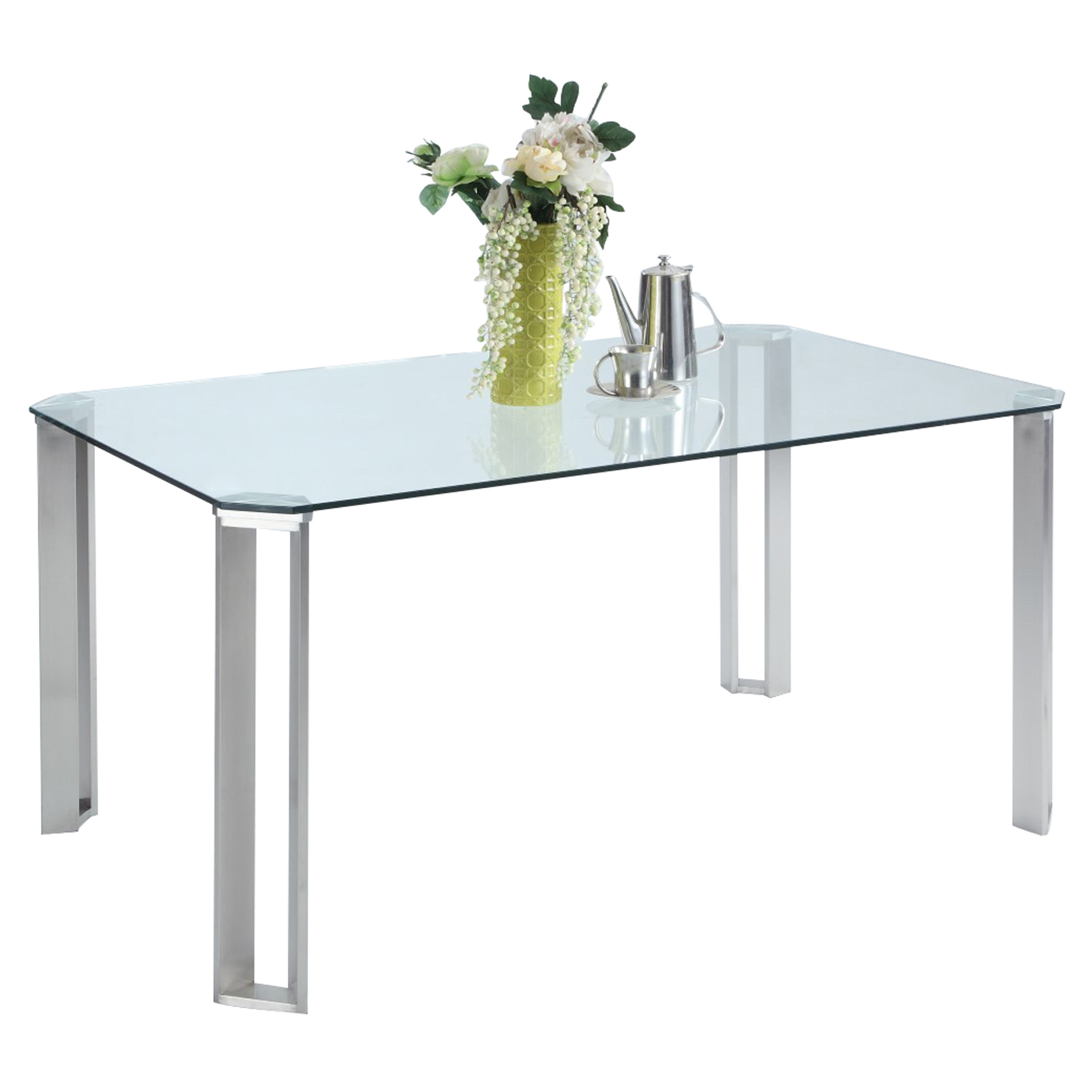 Rhonda Rectangular Dining Table Glass Top Brushed