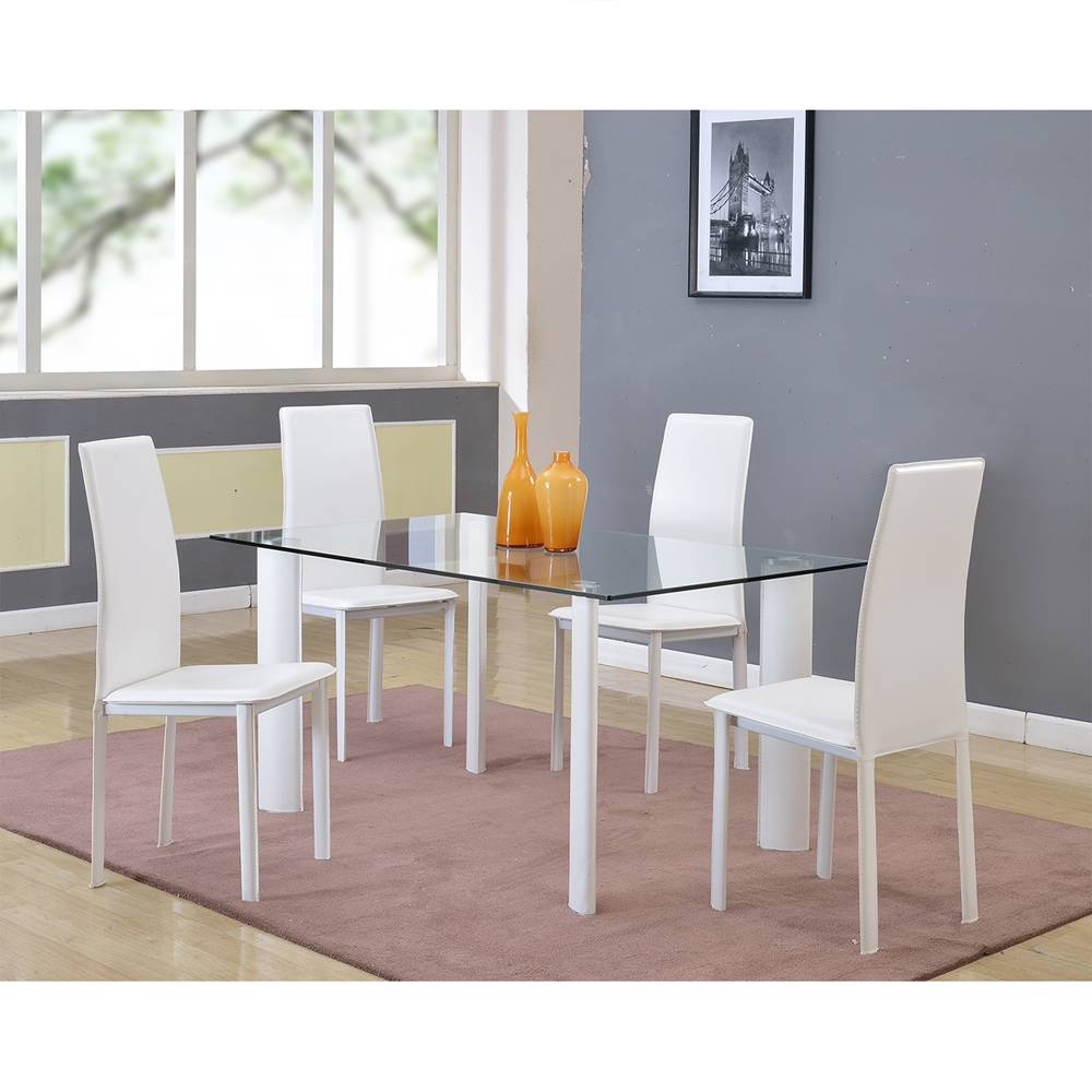 riana rectangular dining table glass top white base dcg stores. Black Bedroom Furniture Sets. Home Design Ideas