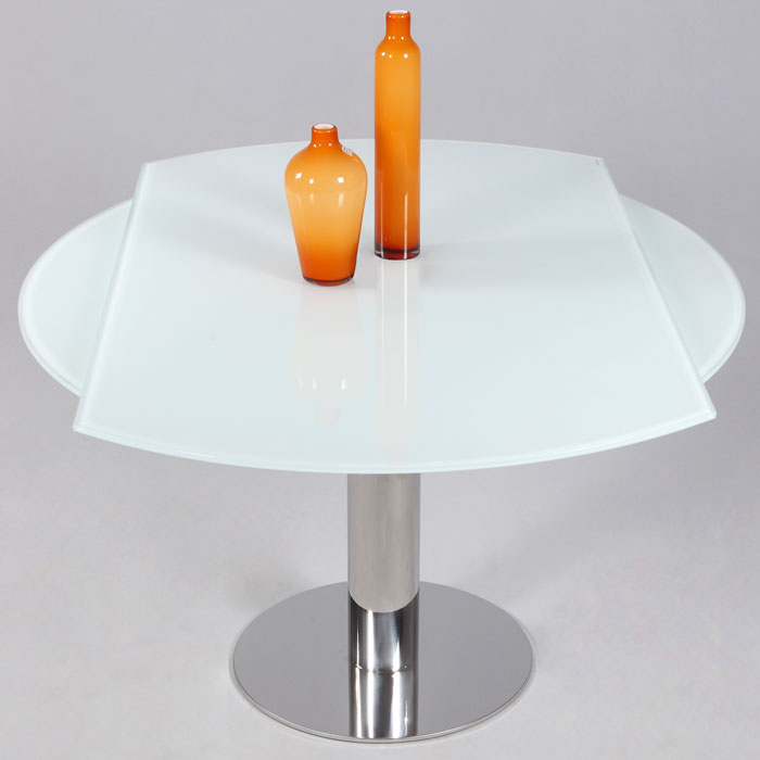 Tami Expanding Top Table - White Glass, Stainless Steel Base - CI-TAMI-DT-CRM