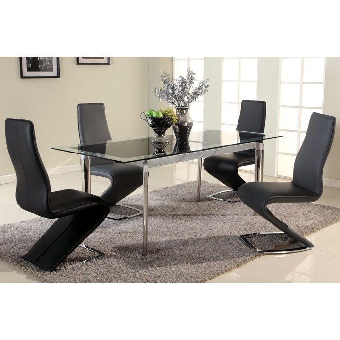 Tara 5 Piece Dining Set - Extending Table, High Back Chairs - CI-TARA-BLCK-5-PC-SET