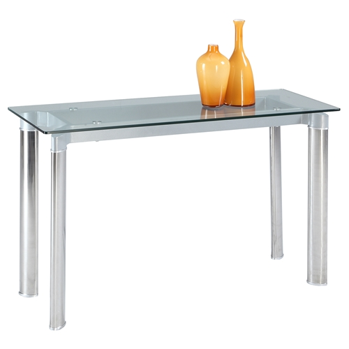 Tara Sofa Table Clear Top Shiny Stainless Steel DCG