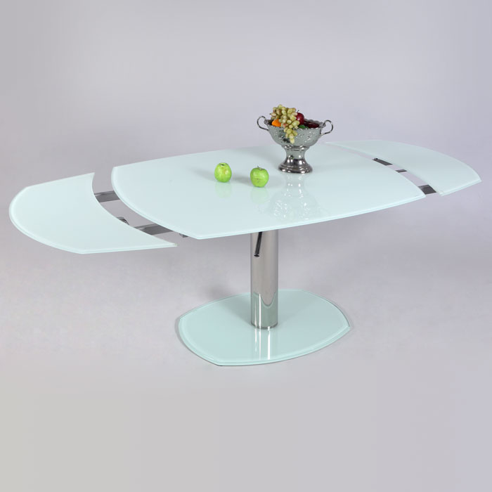 Tasha Contemporary Dining Table White Glass Extension