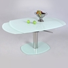 Tasha Contemporary Dining Table - White Glass, Extension Leaves - CI-TASHA-DT