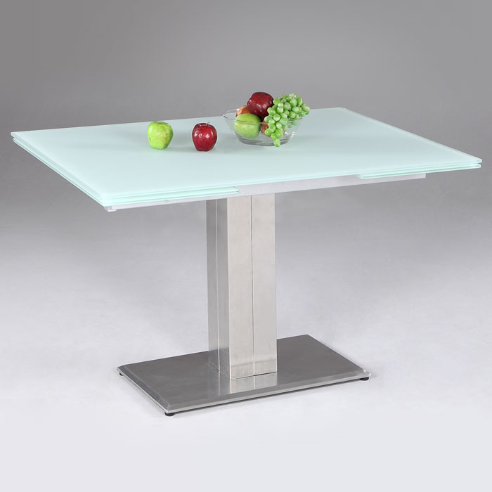 Tatiana extending dining table white frosted glass dcg stores - Frosted glass dining tables ...