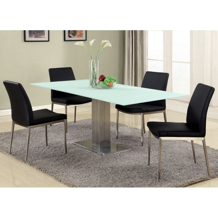 Tatiana Extending Dining Table White Frosted Glass Dcg