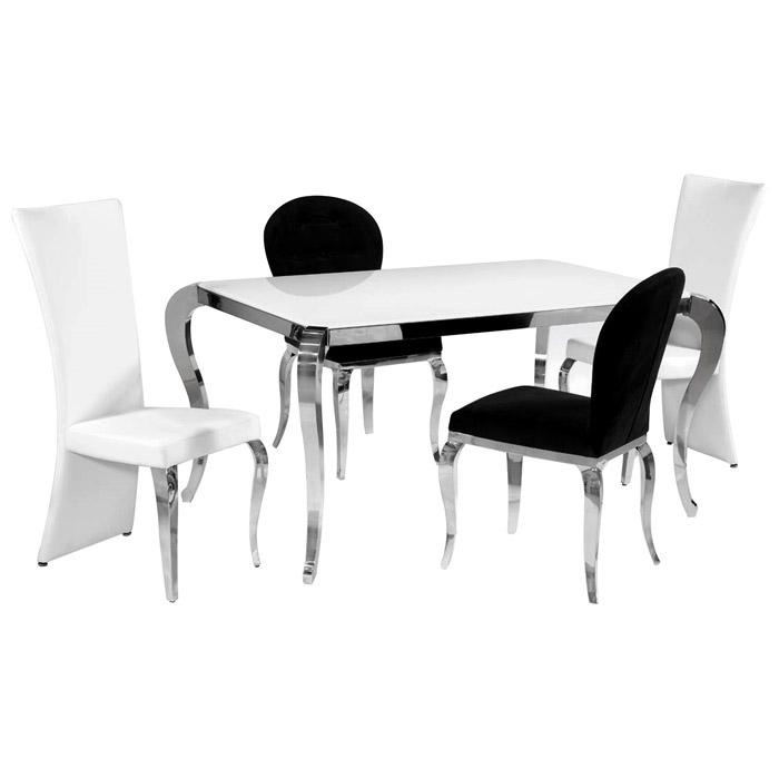 Teresa White Glass Dining Table - Cabriole Legs, Stainless Steel - CI-TERESA-DT