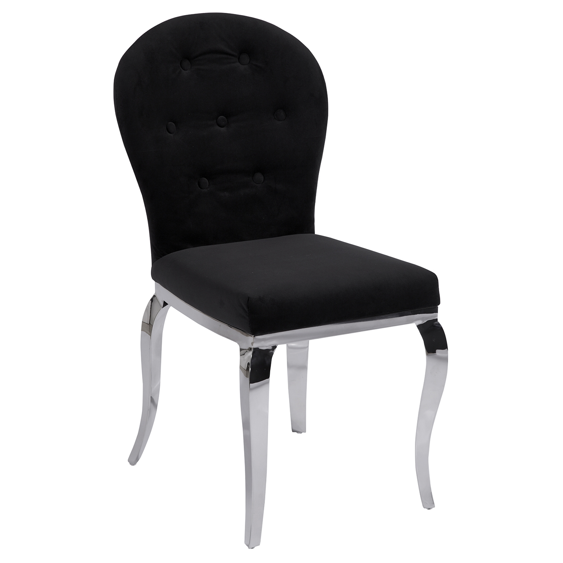Teresa Arch Back Side Chair - Black, Button Tufted - CI-TERESA-SC-OVL