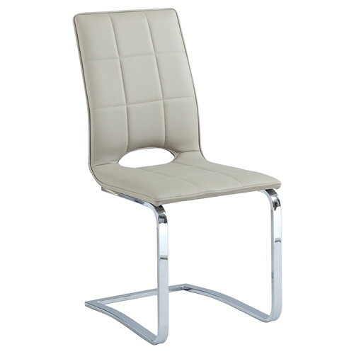 Tiffany Cantilever Open Back Side Chair Beige Chrome