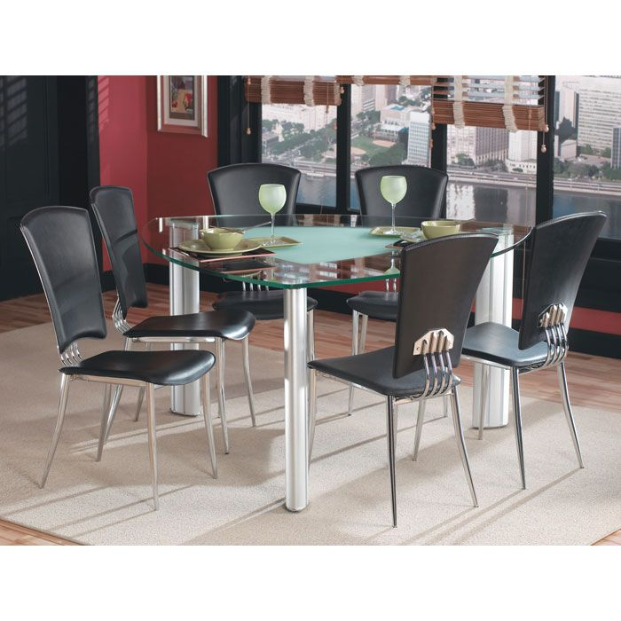 Awesome Triangle Kitchen Table Collection Also Island: Tracy Triangle Glass Dining Set