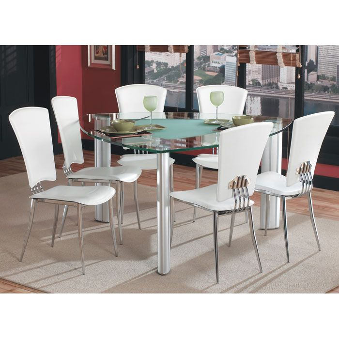 Tracy Triangle Glass Dining Set - CI-TRACY-575757-DT-7-PC-X-SET