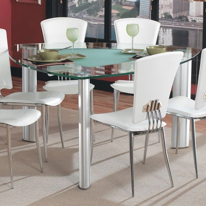 Glass Dinner Table Set: Tracy Triangle Glass Dining Set