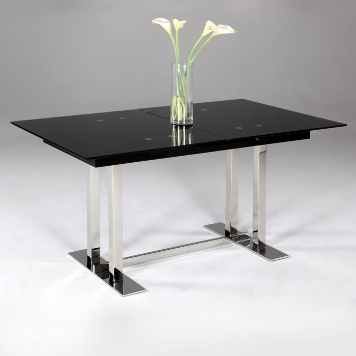 Tyler Extendable Dining Table Black Glass Top Trestle