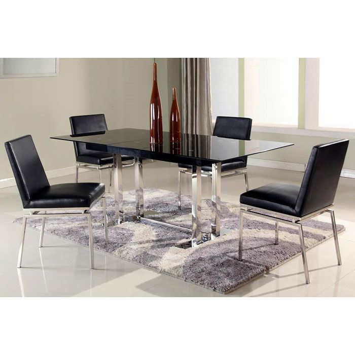 Tyler 5 Piece Dining Set Extending Table Black Glass Dcg Stores