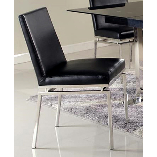 Tyler Contemporary Side Chair - Black, Stainless Steel Legs - CI-TYLER-SC