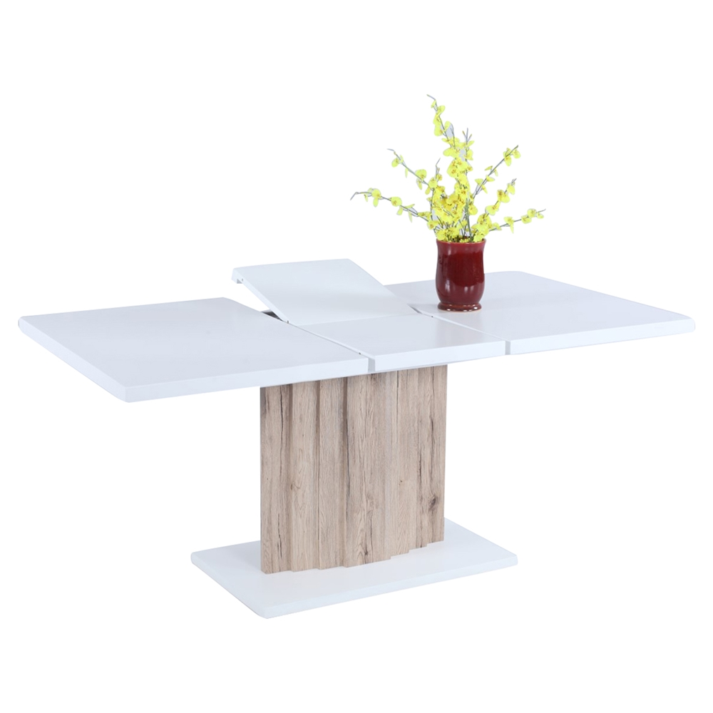 Wendy Butterfly Extension Dining Table White Light Oak