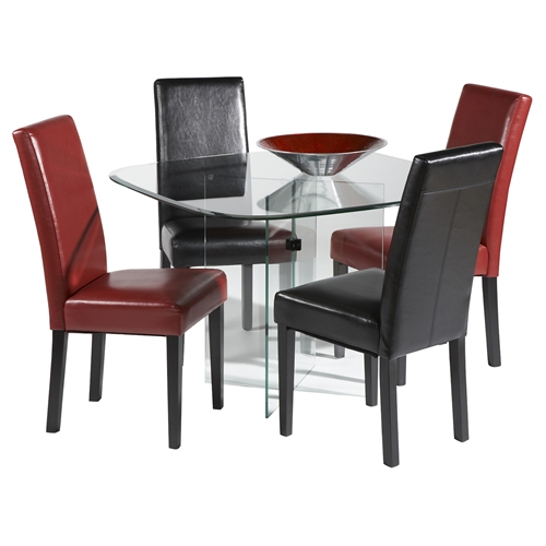 48 square dining table clear chrome dcg stores. Black Bedroom Furniture Sets. Home Design Ideas