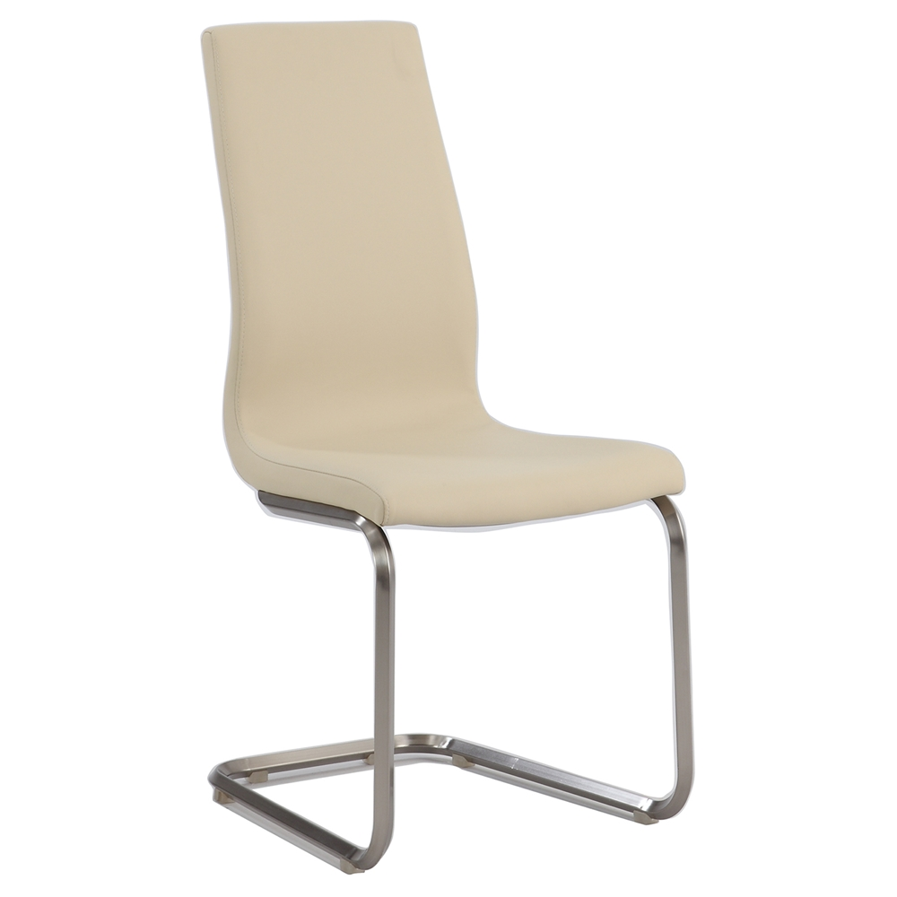 Zoey Cantilever High Back Side Chair Beige Brushed
