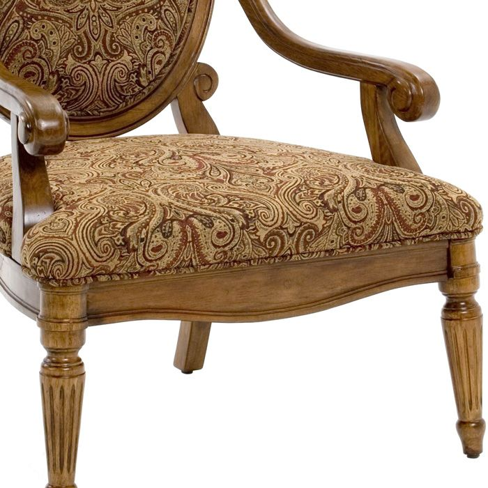 Cheap Hand Carved Accent Chair: Clark Fruitwood Accent Chair With Hand Carved Accents