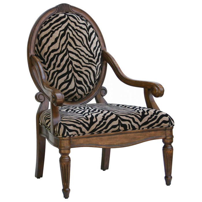 Knox Tan And Black Zebra Print Chenille Accent Chair   CP 130 03 ...